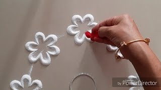 Beautiful flowers and leaves Rangoli design by Aarti shirsat ||Top Rangolis