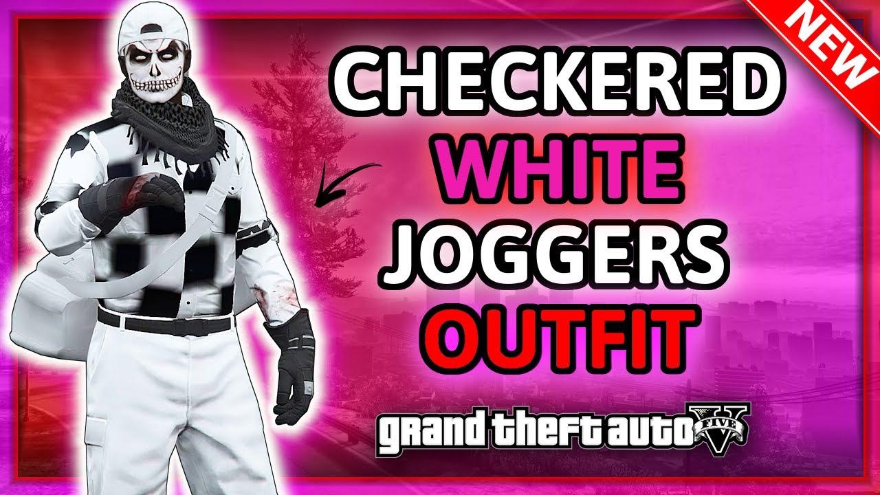 GTA5 Online I Checkerboard + White Joggers Male Outfit Tutorial! (TRANSFER GLITCH) 1.50!