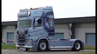 Truckshow Flakkee 2018 with Sneepels New Generation Scania V8 open pipes