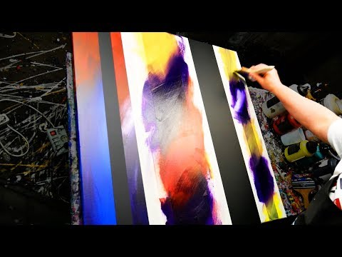 Abstract Painting Demonstration in Acrylics using masking tape and splatter - Iberis - John Beckley