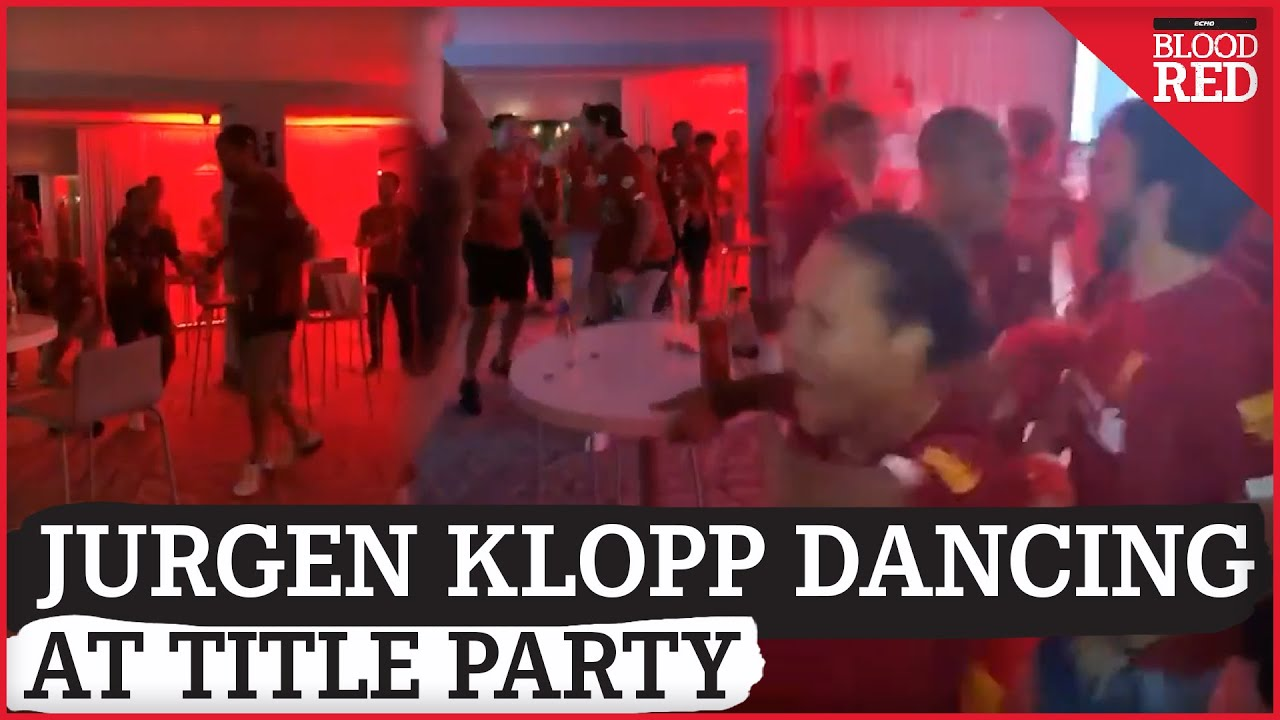 Jurgen Klopp DANCING at Liverpool's private champions party - YouTube