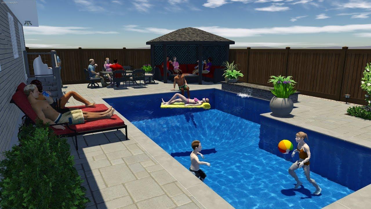 L Shaped Pool Design By Rideau Pools Ottawa Youtube