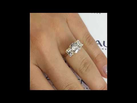 bee2fbee58bbd 8.5 mm Cushion Cut Moissanite 3-Stone Engagement Ring