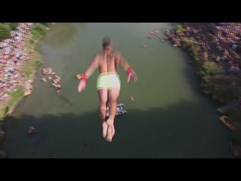 Insane 22 metre dive off bridge in Kosovo