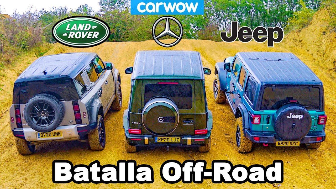 Defender vs Mercedes G350 vs Wrangler - ¡ARRANCONES Cuesta arriba y BATALLA Off-road!