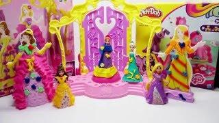 Play Doh Dress Maker Disney Princess Frozen Anna Elza Rapunzel Belle  MagiClip video #2
