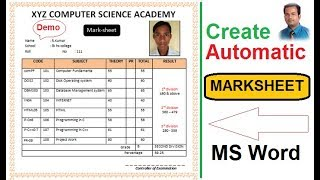 Automatic Marksheet creation in Ms word | using Excel