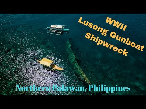 Drone views over the WWII Lusong Gunboat Shipwreck in the Philippiness
