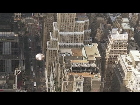 Disc shaped UFO in the sky of New York (CGI)