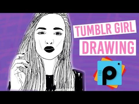 Tumblr Girl Outline Drawing Using PicsArt