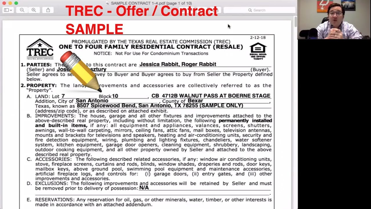 How To Write Trec Real Estate Contract To Offer On A House In Texas One To Four Family Resale