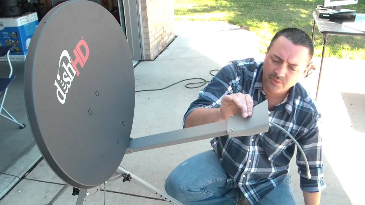 small resolution of mounting the lnb tr 6100 winegard portable satellite dish tripod kit youtube