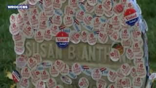 Susan B. Anthony Grave Covered with 'I Voted' Stickers