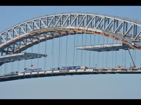 Views and progress atop the Bayonne Bridge