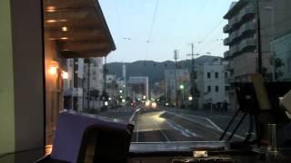 函館の路面電車 9601A号 函館駅前→十字街夜間前面展望 Hokkaido Hakodate Tram Hakodate→Jujigai Front View