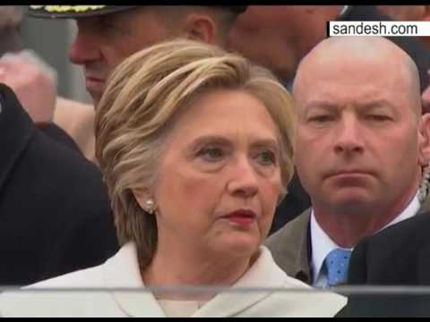Hillary Clinton, Bill Clinton and George Bush at Donald Trump Inauguration in Washington DC