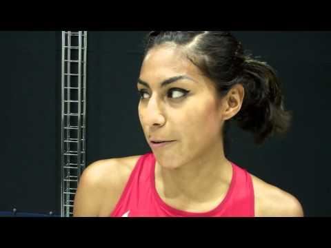 Brenda Martinez talks after winning her opening heat of 2013 IAAF World Championships
