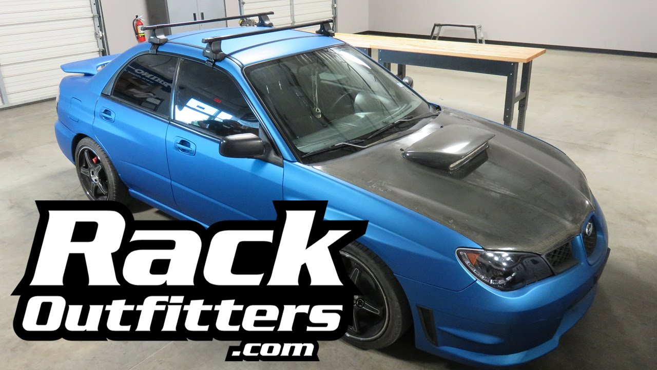 Subaru WRX With Thule Traverse SquareBar Roof Rack Crossbars