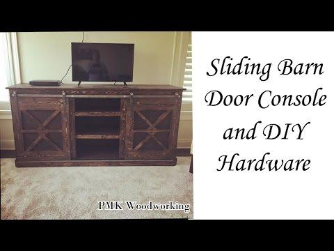 DIY Sliding Barn Door Console and DIY  Barn door hardware!!!