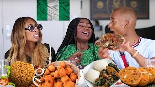 NIGERIAN FOOD MUKBANG | AMERICANS TRY THE BEST JOLLOF RICE | Shalom Blac