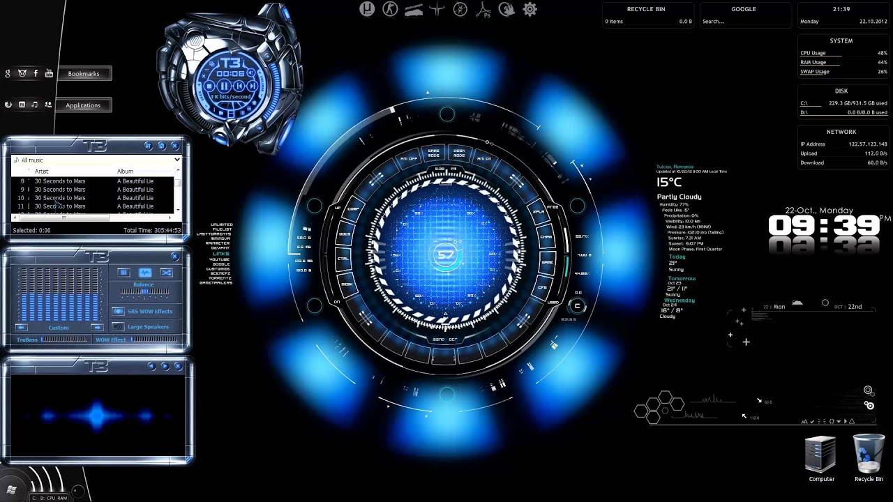 babce arc reactor win 7 mod winmp skin preview youtube