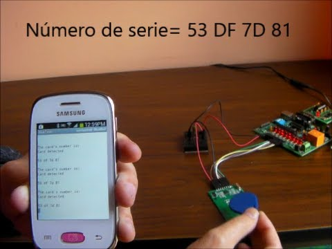 RFID RC522 read-write SPI module transmitting information to a mobile phone  with a bluetooth link