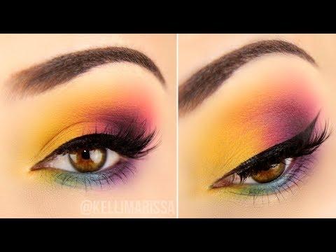 easy drugstore rainbow eye makeup tutorial  kelli