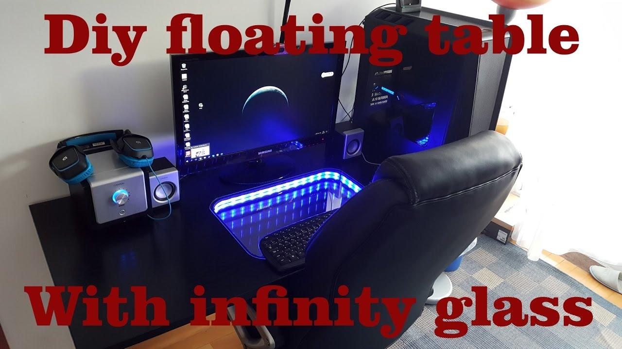 diy floating desk with infinity glass youtube. Black Bedroom Furniture Sets. Home Design Ideas