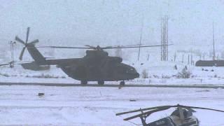 Аэропорт Воркута - взлёт вертолёта Ми-26 в туман