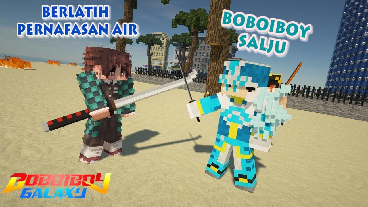 BoBoiBoy Salju Berlatih Sama Tanjiro - Minecraft BoBoiBoy Mod