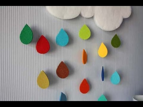 Hecho en casa colgante nube con colores fieltro - Manualidades en casa ...