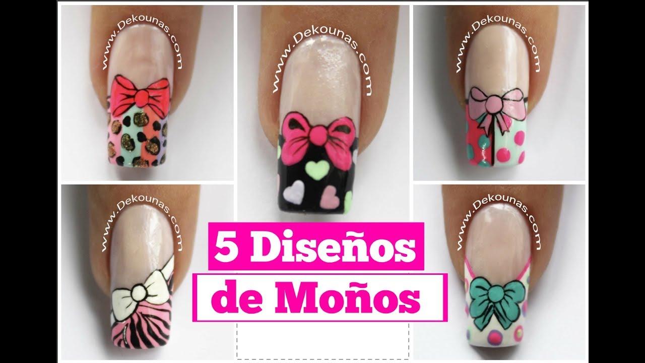 5 diseños de uñas FACIL de moños - 5 easy bow nail art ...