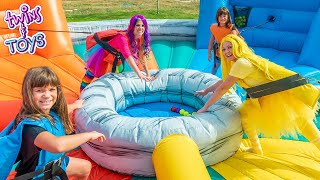 Princess Lollipop & Princess Sunshine Play with Twins Kate & Lilly on Giant Inflatable Playhouse!