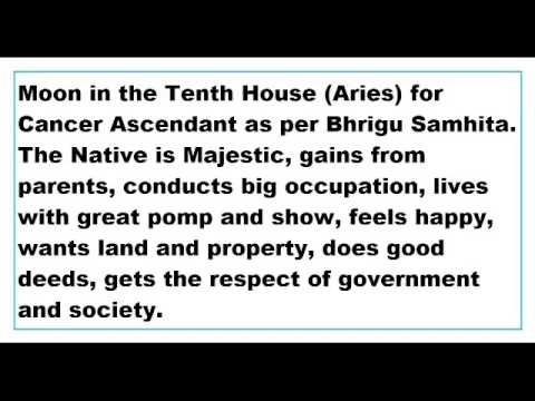 Moon In 10th House For Cancer Ascendant As Per Bhrigu Samhita Youtube