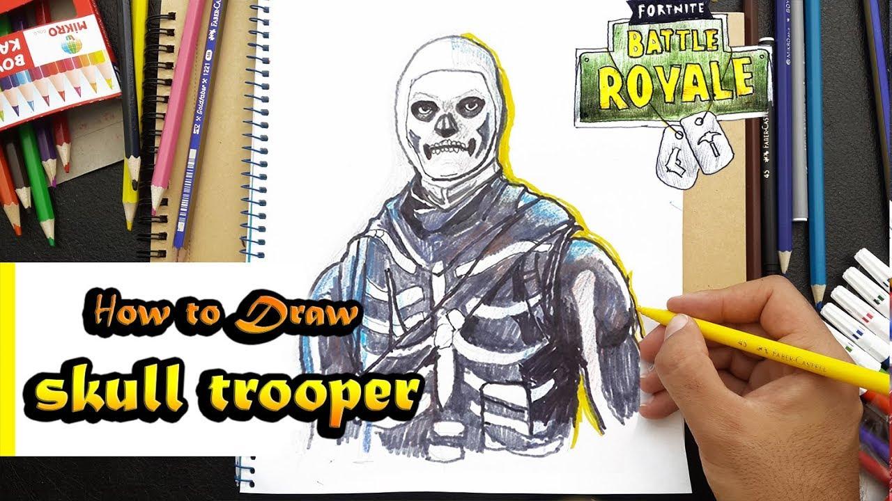 How To Draw Skull Trooper Fortnite Battle Royal Art Tutorial