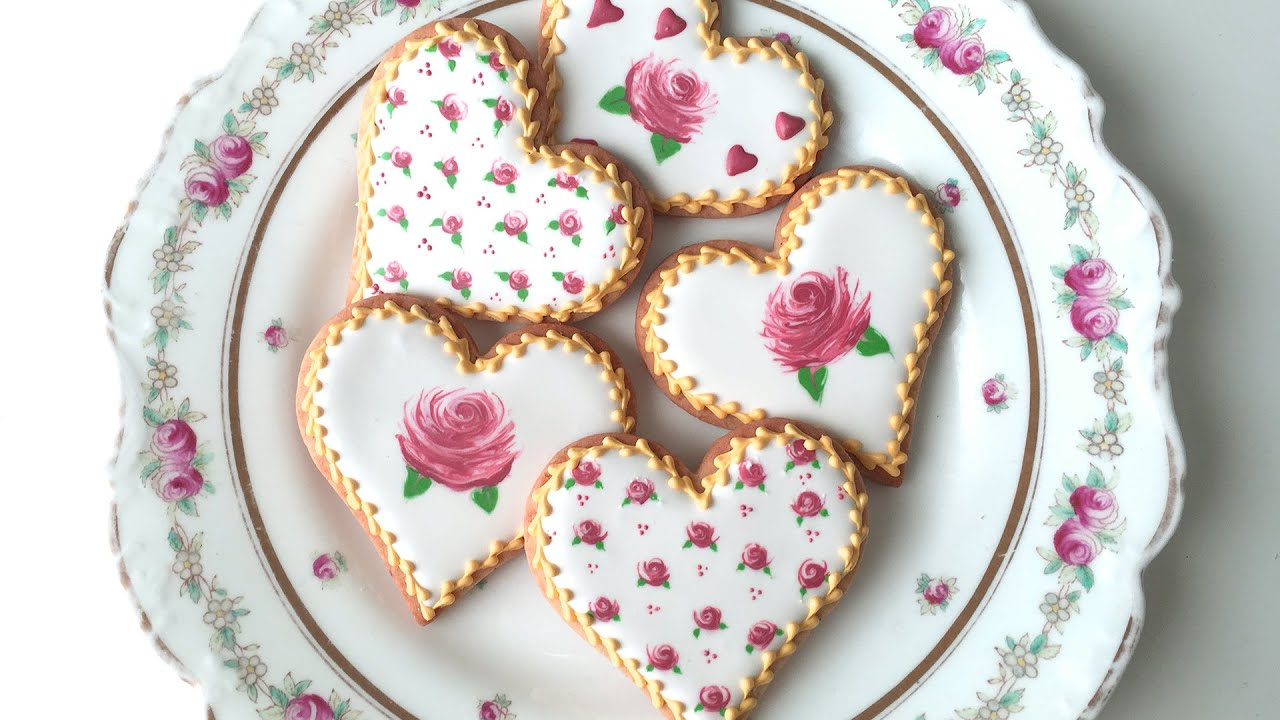 how to decorate rose cookies for valentines day youtube - Decorated Valentine Cookies