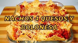 Nachos 4 quesos y boloñesa