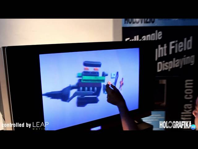 CAD model demonstration on HoloVizio 80WLT Full-angle Light Field display controlled by Leap Motion