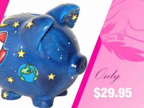 Space and rocket ship piggy bank personalized youtube - Rocket piggy bank ...