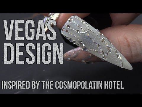 BLINGY NAIL DESIGN INSPIRED BY THE CHANDELIER BAR AT THE COMSOPOLITAN HOTEL IN LAS VEGAS