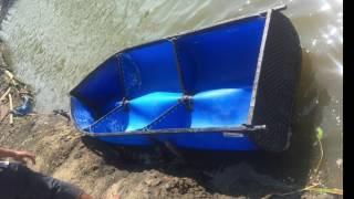 DIY plastic barrel boat project