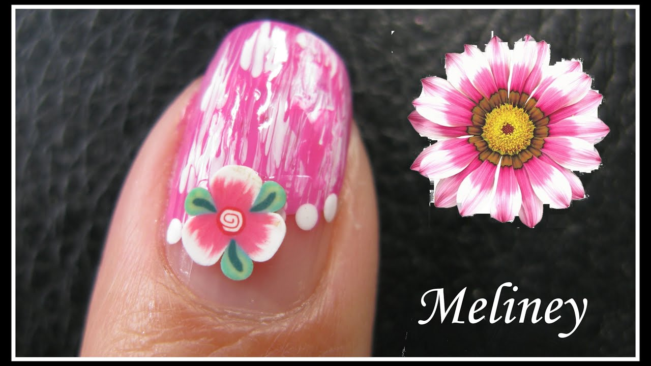 Summer Flower Nails Fimo Nail Art Design Tutorial For Beginners Easy Simple Pink Diy Youtube