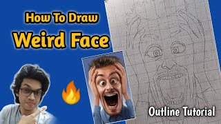 How To Draw Weird Face Step By Step Outline Tutorial | SUBSCRIBER Request Tutorial | Its Art Adda 👌🔥