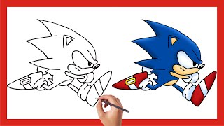 How to draw SOΝIC THE HEDGEHOG | Sonic running fast