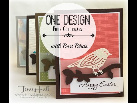 How to use one design to create four different cards using Stampin Up products with Jenny Hall