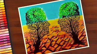 Save Tree Drawing with oil pastels for beginners / Save environment drawing  / Save Earth drawing