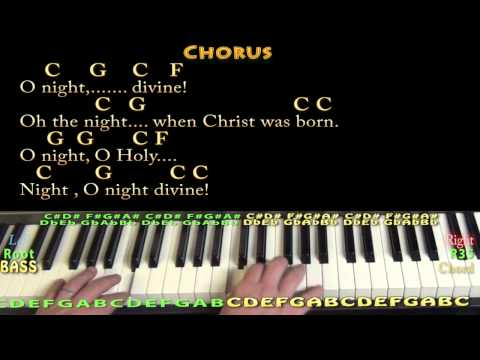 O Holy Night - Piano Cover Lesson in C with Chords/Lyrics