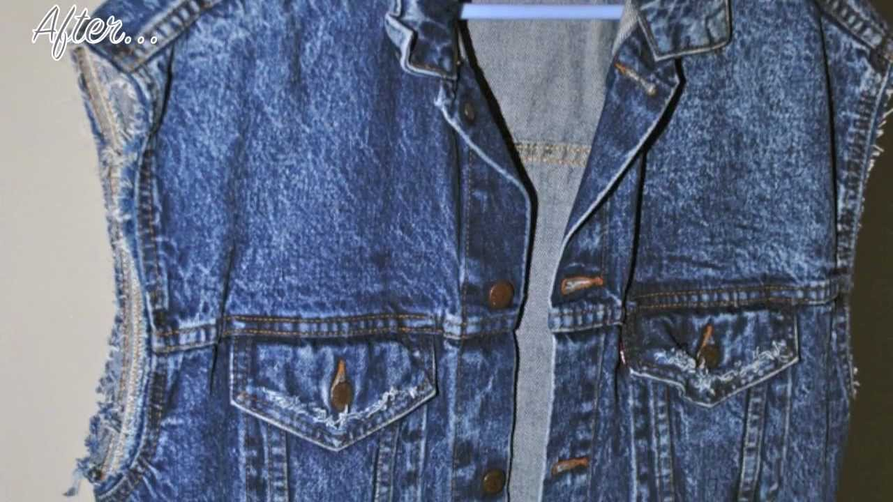 DIY: Turn your denim jacket into a denim vest and fray it - YouTube