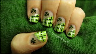 Lucky Green Plaid Nails