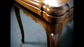Louis Xvi Manner Cherrywood Parquetry Top Draw Leaf Extension Table - C.1930's